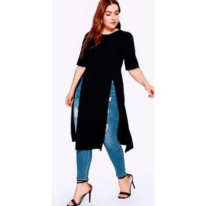 SHEIN Tops - Split Slit Plus Longline Shirt 2X Black